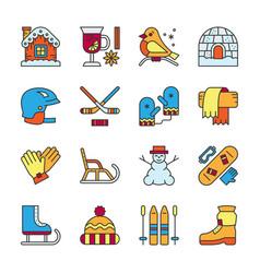 winter activity sport outdoor line icon set vector image