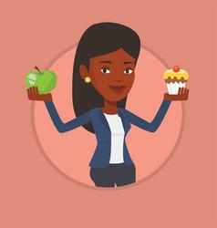 woman choosing between apple and cupcake vector image