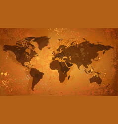 World map on grunge background vector