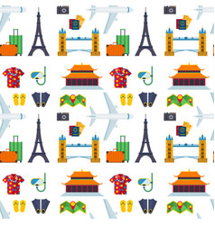 Airport travel sight flat tourism sightseeing vector