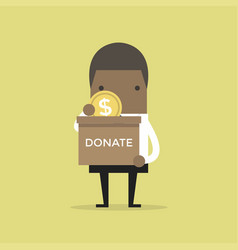 businessman putting coin in the donation box vector image vector image