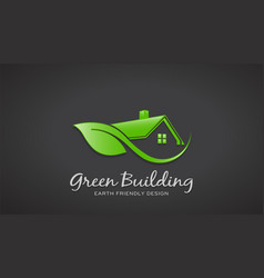 eco friendly green house logo design vector image vector image