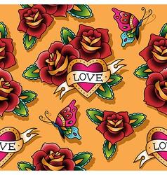 tattoo love pattern rose vector image