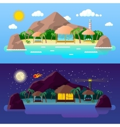 Tropical Island Landscape with Mountains vector image