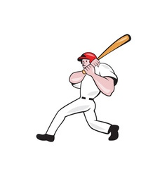 Baseball Player Batting Look Side Isolated Cartoon vector image vector image