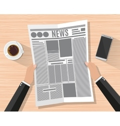 Cartoon businessman hand holding newspaper vector image