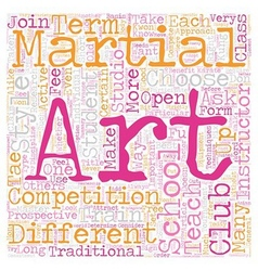 How To Choose A Martial Arts School text vector image