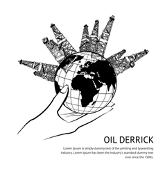 Oil rig in hand vector