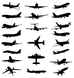 silhouettes of aircrafts vector image vector image