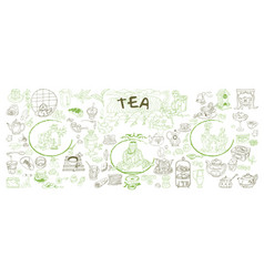 sketch traditional tea elements set vector image vector image