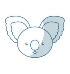 Cute shadow koala face cartoon vector