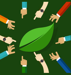 eco friendly life represented with leaf hand vector image vector image