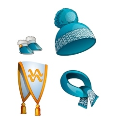 Hat scarf boots warm winter clothes in blue vector image vector image