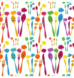 Silverware icons seamless pattern vector image vector image