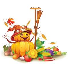 Still life of autumn harvest with a figure of vector image