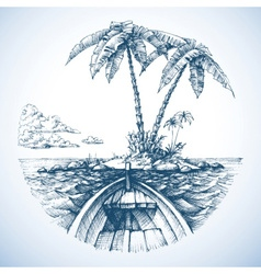 Tropical island in the ocean with palm trees view vector image vector image