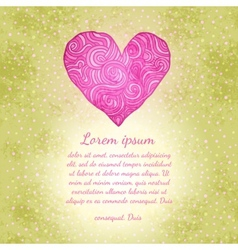 Valentines background with doodle heart vector image