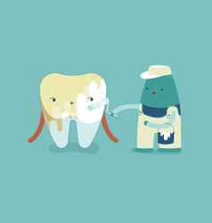 whitening a tooth teeth and tooth concept of dent vector image