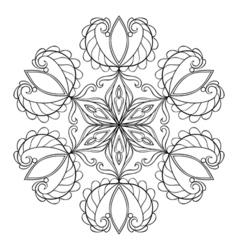 Black snow flake in zentangle doodle style mandala vector