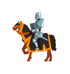 brave knight in steel armor with sword and shield vector image