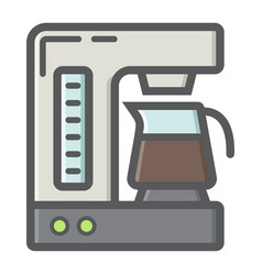 coffee maker colorful line icon kitchen appliance vector image vector image