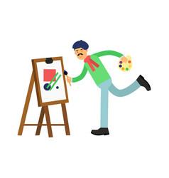 flat bohemian artist cartoon character at work vector image
