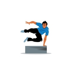 Parkour athlete jumping over a barrier sign Free vector image vector image