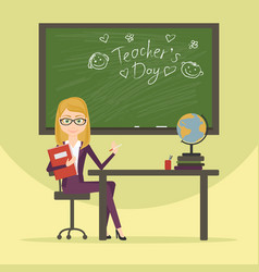 teacher character cartoon flat style vector image vector image