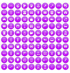 100 work icons set purple vector