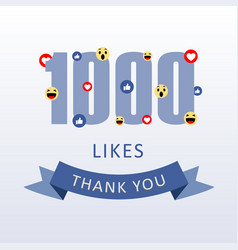 1000 likes thank you number with emoji and heart vector