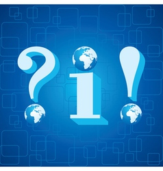 3d blue infoquestion mark and exclamatory mark vector image