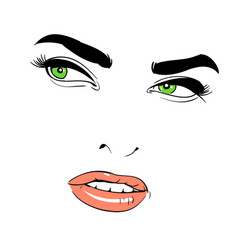 A woman s face green-eyed shrewd vector