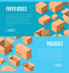 advertising template with packing boxes vector image