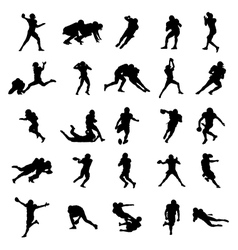 American Football Black Silhouettes vector