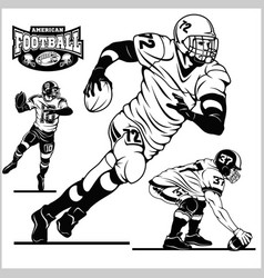 American football players in action isolated on vector