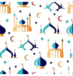 Arabian seamless pattern with moon and mosque vector image vector image