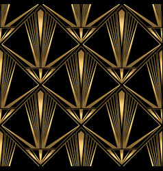 Art deco pattern gold black background vector