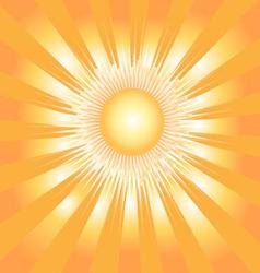 Beautiful background with the sun and orange rays vector