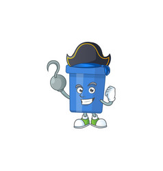 Blue sand bucket as a pirate having one hook hand vector