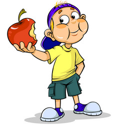 Boy and apple vector