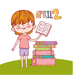 Boy with education books to day celebration vector