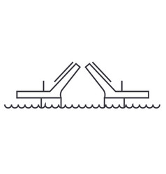 bridgesdrawbridges line icon sign vector image