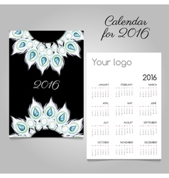 Calendar 2016 with white feathers and diamonds vector