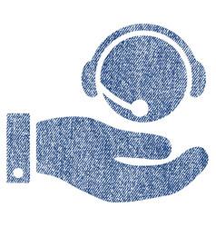 Call center service fabric textured icon vector
