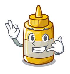 Call me homemade mustard sauce in cartoon bottle vector