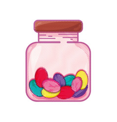 Candy almonds dessert crystal jar vector