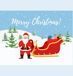 cartoon christmas background santa claus vector image