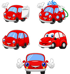 Cartoon funny red cars collection vector