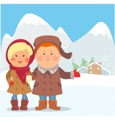 Cartoon people - Woman and Man inviting guests vector