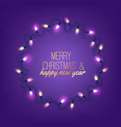 christmas light realistic garland on purple vector image